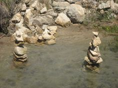 Stacking rocks at Lake Arrowhead 2009