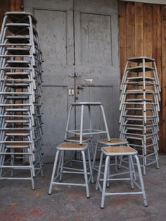 tabouret industriel metal et bois