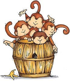 Barrel of Monkeys - Zoo - Animals - Rubber Stamps - Shop Zoo Animals, Cute Animals, Monkey Illustration, Inkscape Tutorials, Barrel Of Monkeys, Monkey Art, Cartoon Monkey, Cute Clipart, Illustrations