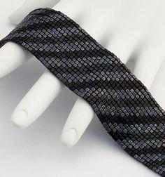 Beaded Bracelet Diagonals Black Medley by NeatBeading on Etsy