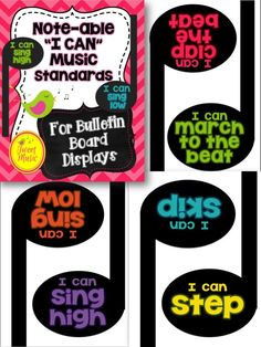 "These popular Music standards package has been given a facelift, and now comes in 3 different variations!  100 ""I Can"" Music Standards Statements made in a musical way for you to display in your classroom year after year! Tweet Music has created a comprehensive list of brief ""I Can"" music standard statements that cover a range of grade levels- from Kindergarten through to Grade Four or Five. $"