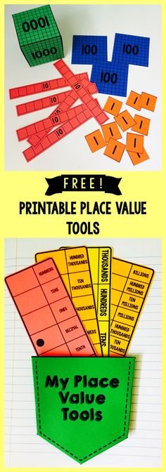 Place Value Tools Free! Printable base 10 blocks, place value strips (OTH thru billions, also includes decimals)Free! Printable base 10 blocks, place value strips (OTH thru billions, also includes decimals) Teaching Place Values, Teaching Math, Teaching Ideas, Math Resources, Math Activities, Math Games, Place Value Activities, Maths 3e, Math Place Value