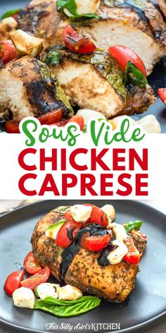 Sous vide chicken topped with a tomato, mozzarella, and basil salad. This dinner is so fresh, yet extremely flavorful, perfect for summer. #sousvide #chickencaprese Caprese Chicken, Tomato Mozzarella, Sous Vide, Cherry Tomatoes, Family Meals, Basil, Main Dishes, Chicken Recipes, Easy Meals