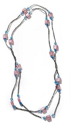 Easy beaded crochet necklace - free pattern.