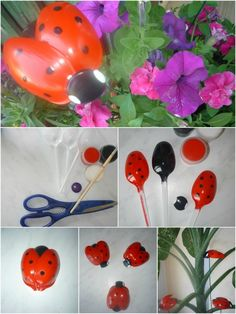 Recycled crafts Spoons - Quick Recycling Craft Adorable Ladybugs made from Plastic Spoons Plastic Spoon Crafts, Plastic Spoons, Plastic Bottles, Plastic Silverware, Plastic Bags, Kids Crafts, Crafts To Make, Ladybug Crafts, Plastic Flowers
