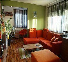 Orange and green living room