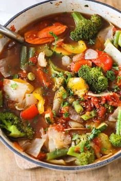 Weight Loss Vegetable Soup Recipe.  Loads of veggies & flavor and naturally low in fat & calories.  Perfect for healthy eating and weight watchers. 0 points