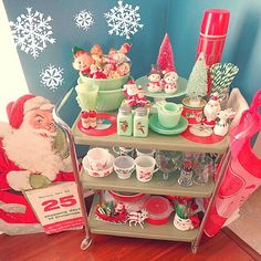 Christmas bar cart! Would work for snack bar cart as well.(when the kids are older and won't destroy!) love this