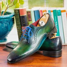 Paul Parkman Green & Purple Handmade Oxfords (ID Mens Derby Shoes, Mens Shoes Boots, Leather Shoes, Men's Shoes, Shoe Boots, Dress Shoes, Luxury Shoes, Green And Purple, Oxford Shoes