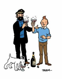 tintin, the captain & snowy make a toast!