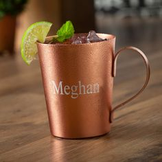 Personalize our Moscow Mule Copper Mug with a laser engraved name for that special gift.