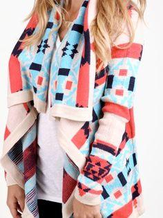 Printed Shawl Sweater.