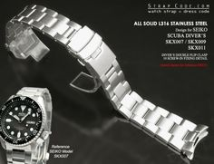 22mm Super Oyster watch band for SEIKO Diver SKX007/009/011 Curved End