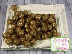20mm Gold Chunky Acrylic Rhinestone bubblegum beads - Gumball beads - chunky necklace supply - UK SELLER