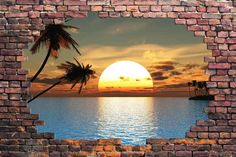 "Amazon.com - Wall26 - Large Wall Mural - Majestic Landscape Viewed through a Broken Brick Wall | 3D Visual Effect Self-adhesive Vinyl Wallpaper / Removable Modern Decorating Wall Art - 66"" x 96"" -"