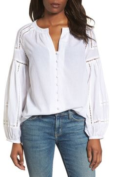 Main Image - Caslon® Embroidered Peasant Sleeve Top white tops for summer, summer tops, summer style Cute Fashion, Fashion Outfits, Women's Fashion, College Wardrobe, White Shirts, White Blouses, Peasant Blouse, Cut Shirts, Latest Fashion Trends