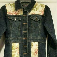 """One of a kind upcycled denim jacket Upcycled fitted denim jacket.  No size tag- measurements are shoulder width 14"""", shoulder to cuff, collar to hem 21"""" Jackets & Coats Jean Jackets"""