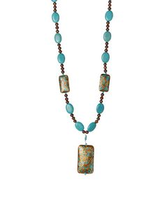 Another great find on #zulily! Turquoise & Chocolate Pearl Cloisonne Pendant Necklace #zulilyfinds
