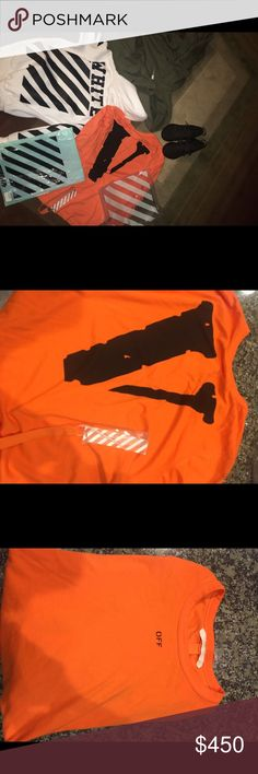 Vlone x offwhite longsleeve Worn one time! If you pay through poshmark i will not ship anything. Txt me at (909) 547-4955 venmo and cash app accepted vlone Tops Tees - Long Sleeve