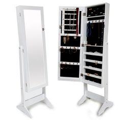 TecTake Standing Jewelry Cabinet with Mirror white 149 x 42 x 37 cm:Amazon:Jewellery