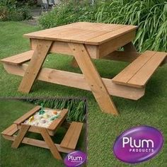 Children's picnic table with a top that lifts off to create a sand pit table.  Appears only available in UK.  Nice idea.