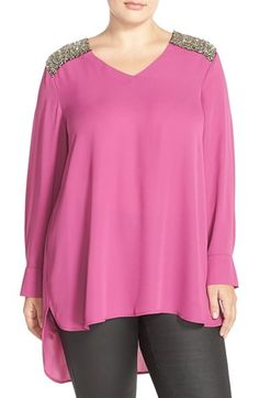 Melissa McCarthy Seven7 Crystal Shoulder Tunic Top (Plus Size) available at #Nordstrom