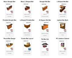 A dozen cool home bar projects, original, designed by S. Webb of Barplan.com - easy to build!