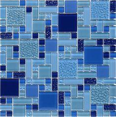 Glass Pool Mosaic Tile Multi Blue Random