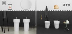 POP, The.Artceram bathroom collection. Design Meneghello Paolelli Associati. #washbasin  #sanitaryware. Freestanding washbasin, hang to the wall sanitaryware
