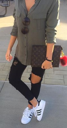 sporty outfit with casual accents adidas superstars destroyed jeans + olive green blouse