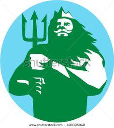 Illustration of triton mythological god holding trident viewed from front set inside circle on isolated background done in retro style.  #triton #retro #illustration