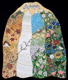 Irina Charny is a self taught mosaic artist with whimsical tendencies.  Charny incorporates pebbles, mirrors, buttons, wire, beads, broken plates and other found objects into her colorful mosaics.