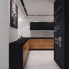 Black and wood kitchen - Styl Nowoczesny - PASS architekci Modern Kitchen Design, Room Interior, Interior Design Living Room, Black Kitchens, Cool Kitchens, Kitchen Black, Living Room Kitchen, Kitchen Decor, Kitchen Wood