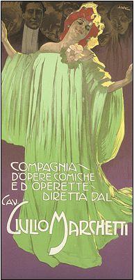 """By Leopoldo Metlicovitz (1868-1944), Giulio Marchetti, compagnia d'opere comiche.  From """"Ricordi Portfolio"""" a serie of greatest Italian posters printed between 1895 & 1914."""