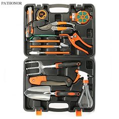 #Garden #Hand #Tool #Set #Pathonor #12 #Piece #Garden #Tools #Set #Kit for #Women #Men with #Hard #Storage #Case with #Pruning #Shear Saw #Watering Can #Trowel #Shovel #Rake #Grass #Shear #Knife etc 1. MULTIPURPOSE: The #12 #hand #tools are perfect for all your #garden needs, such as digging, weeding, loosening soil, transplanting, #watering, sawing, cutting, measuring and fix plants to trellis or stake for indoor and outdoor gardens. 2. GREAT GARDENING GIFT: This new #garden