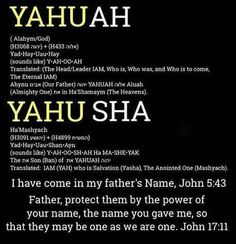 YHWH.. Yahusha.. the Son in the Father..