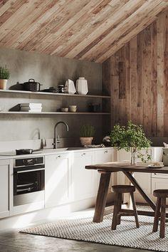 """Feng Shui-experten: """"Så påverkas du av färgerna i ditt hem"""" Home Decor Kitchen, Kitchen Furniture, Kitchen Interior, Farmhouse Dining Room Set, Kitchen Dining, Casa Cook, Cabin Kitchens, Minimalist Room, 3d Studio"""