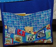 Couch or Bed Caddy.  This is one of the first sewing projects I did with my children.  It works up really fast. Only straight lines to sew.  The kids love having created something special to keep treasures safe on their beds.
