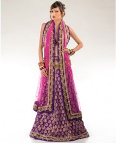 purple and pink lengha
