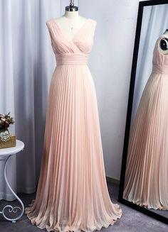 Pink Bridesmaid Dresses Long, Prom Dresses, Formal Dresses, Wedding Party Dresses, Custom Made, Chiffon, Elegant, Fashion, Dresses For Formal
