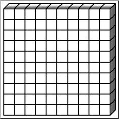 Clip Art: Place Value Blocks B&W 0010 - math illustration | o ...
