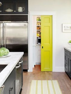 Make pantry doors pop with a bold color!