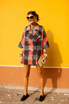 Marni Geometric Pattern Coat Worn by Giovanna Battaglia