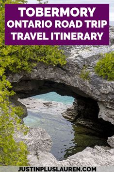 Tobermory is one of the most beautiful places in Ontario, and you can easily plan a weekend road trip to Tobermory from Toronto. Here's how to plan your entire weekend, including a visit to the Grotto, the lakeside village of Tobermory, and Flowerpot Island!  #Tobermory #Ontario #Canada #RoadTrip #Itinerary   Things to do in Ontario Canada | Road Trip to Tobermory | Tobermory Ontario | Flowerpot Island | Tobermory Grotto | Bruce Peninsula Hiking | Things to do in Tobermory Ontario