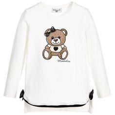Girls Cotton Jersey Teddy T-Shirt with Diamanté