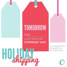 Tomorrow is your last day to get *overnight* holiday shipping! Make sure your gift arrives on time and shop now! www.SassiCassi.OrigamiOwl.com #OrigamiOwl #origamiowlbycassihuntley #teamsassy