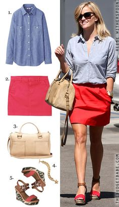 Reese Witherspoon's chambray shirt and red skirt look for less Love her style. Cute Outfits With Leggings, Cute Summer Outfits, Spring Outfits, Just Style, Love Her Style, Chambray Outfit, Red Mini Skirt, Red Skirts, Spring Summer Fashion