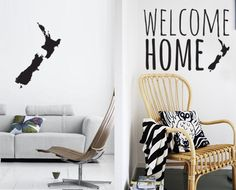Wall decals peel off with ease, making it perfect for renters Update your decor without getting out a paintbrush Welcome Home Signs, Entrance Ways, Kiwiana, Home And Living, Wall Decals, Kitchen Decor, Sweet Home, New Homes, Indoor