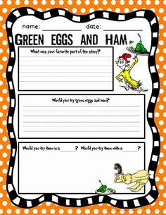 Green eggs and ham Dr. Seuss activities for the classroom Read Across America March