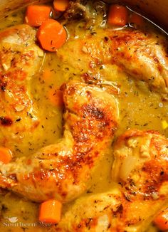 A Southern Soul: Braised Chicken Thighs 4 chicken leg quarters 2 tablespoons olive oil 5 - 6 carrots - roughly chopped 1 onion - chopped 5 cloves garlic - sliced 2 tablespoons flour 1 cup cider vinegar 2 teaspoons dried thyme 3 cups chicken stock salt and pepper 3 tablespoons butter Preheat oven to 350°
